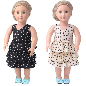 18 inch Girls doll clothes Fashionable black polka dot dress cake American new born skirt fit 43 cm baby accessories c896 baby born doll clothes toys white polka dots dress fit 18 inches baby born 43 cm doll accessories gc18 36