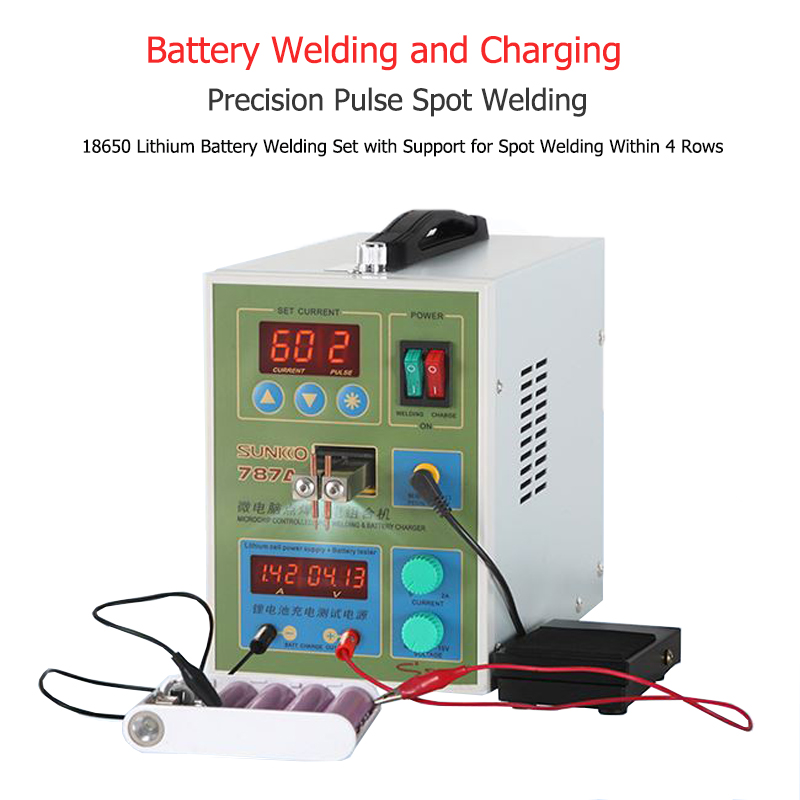 787A  Spot Welder 18650 lithium battery test and charging 2in1 double pulse precision welding machine LED lighting 220V