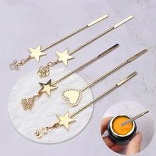 Outils de tige d'agitation Nail Art, poudre acrylique en acier inoxydable liquide UV Gel cuillère spatule Pin étoile pointage gaufré stylo de manucure