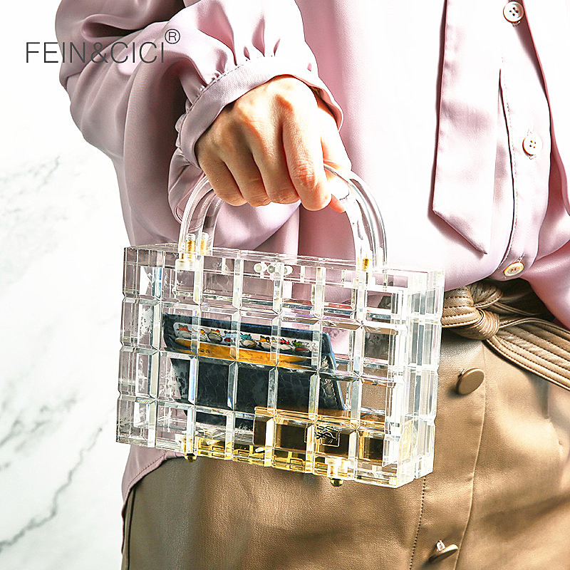 Transparent Totes Bag Clear Acrylic PVC Plastic Box Bag Dubai Women Girl Vintage Retro Evening Party Handbag 2019 New Summer Bag