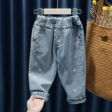 Baby Girls Jeans Kids Autumn Spring Clothes Toddler Baby Casual Elastic Waist Jeans Pants Children Trousers Denim Clothes