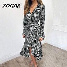ZOGAA Summer Dress Women Fashion Stripe Printed Long Sleeve Ruffles with Belt Shirt Casual Party Vestidos