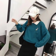 Fall 2019 New Long Female Plush Knitted Turn-lapel Cute pink v-neck fashion preppy hoodie Womens Mature charm Korean Streetwear
