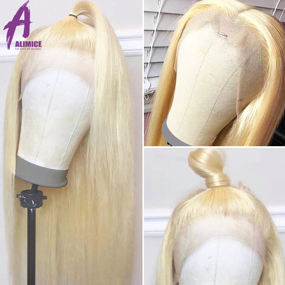 """Alimice #613 Blonde Lace Front Wig Brazilian Straight Wig 13x4 Lace Front Human Hair Wigs Preplucked Lace Wig Remy Hair 8 30""""-in Human Hair Lace Wigs from Hair Extensions & Wigs    1"""