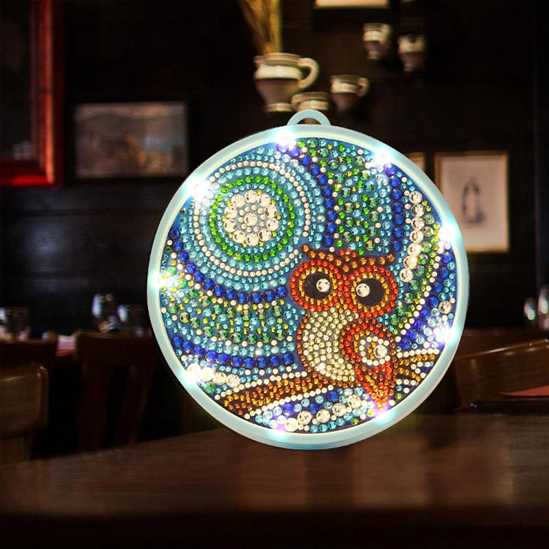 5D Diamond Painting LED Lamp Light Special Shaped Diamond Mosaic Embroidery Owl DIY Unfinished Kit Christmas
