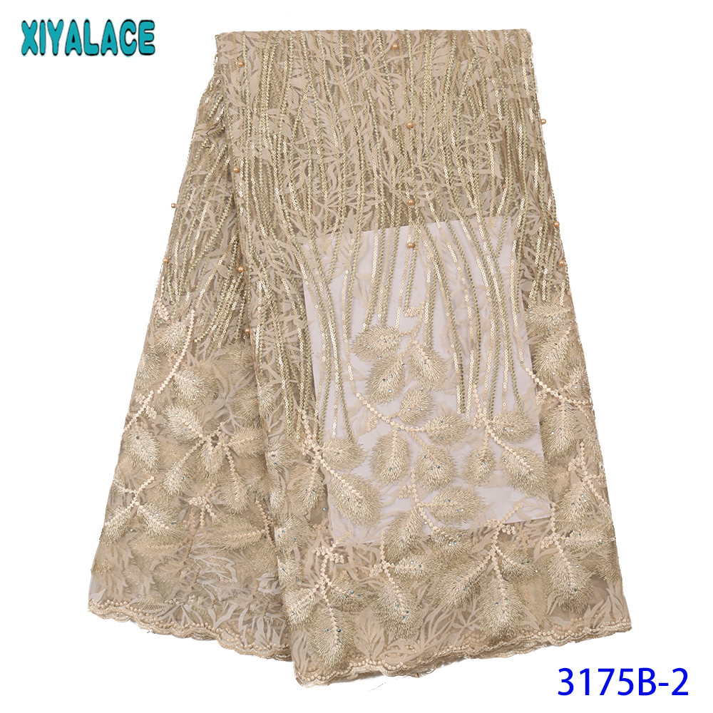 High Quality Europe And American Fashion Fabric Latest Tulle Lace Fabric With Stone French Lace Fabrics KS3175B
