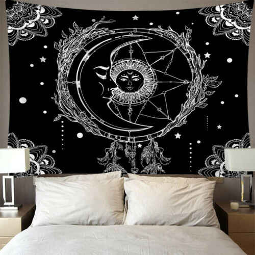 India Mandala Permadani Wall Hanging Sun Moon Tarot Dinding Permadani Dinding Karpet Psychedelic Tapiz Sihir Dinding Kain Permadani