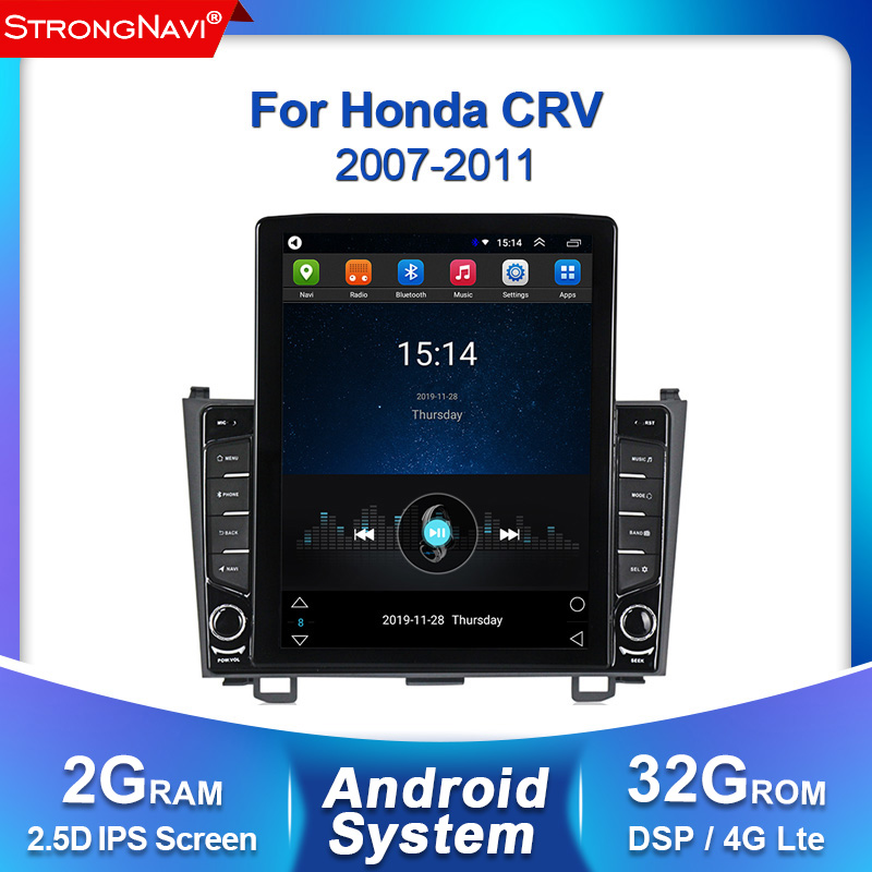 Tesla screen 2+32G Android 2din DSP For <font><b>Honda</b></font> <font><b>CRV</b></font> CR-V 3 2007-<font><b>2011</b></font> Car Radio <font><b>Multimedia</b></font> Video Player Navigation GPS WIFI BT image