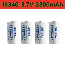 Batterie lithium-ion 2021 rechargeable, 16340 V et 3.7 MAH, CR123A, stylo laser, nouveauté 2800