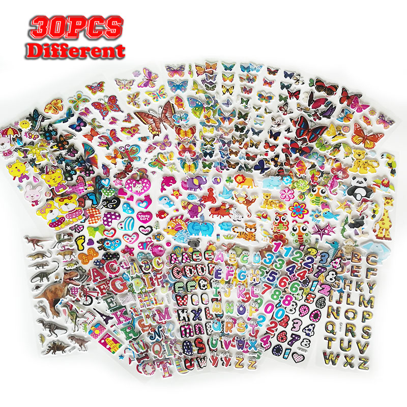 1000+ Type 30 Sheets Kids Stickers 3D Puffy  Bulk Stickers For Girl Boy Birthday Gift Scrapbooking Animals Stars Fishes Hearts