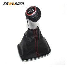 цена на Car Luxury Leather Gear Shift Knob Lever Shifter Gaitor Boot Cover For Volkswagen VW 1999-2004 Golf 4 IV MK4 GTI R32 Bora Jetta