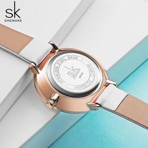 Image 4 - Shengke montre bracelet étanche en cuir pour femmes, montre à Quartz pour filles, bonne qualité, cadeau pour épouse/maman, décontracté