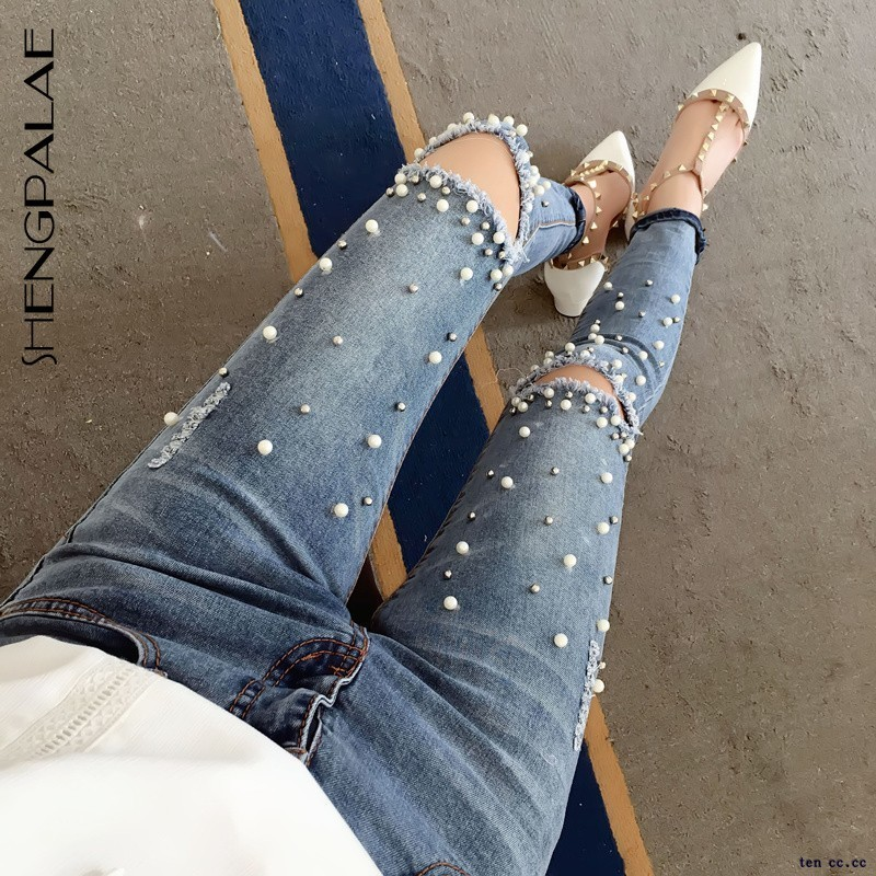 SHENGPALAE 2020 New Autumn Knee Hole Women Denim Pencil Pants Tight-fitting Pearl With Diamonds Korea Fashion Female Jeans FT427 image