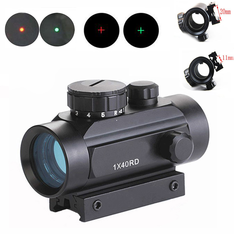 1x40 Red Green Dot/Cross Riflescope Hunting Optics Sight Tactical Paintball Airsoft Paintball Rifle Scope For 11mm And 20mm Rail