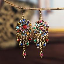Boho Gypsy Tassel Indian Dangle Earrings 2020 Women Orecchini Jewelry Ladies Retro Flower Jhumka Earrings