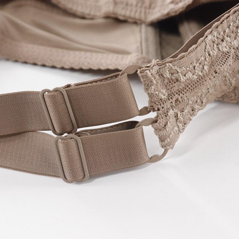 Image 5 - Trufeeling Cotton Lined Plus Size Sexy Bra DD E DDD F Cup Floral Lace Emboridery Perspective Comfortable Underwear for Women-in Bras from Underwear & Sleepwears