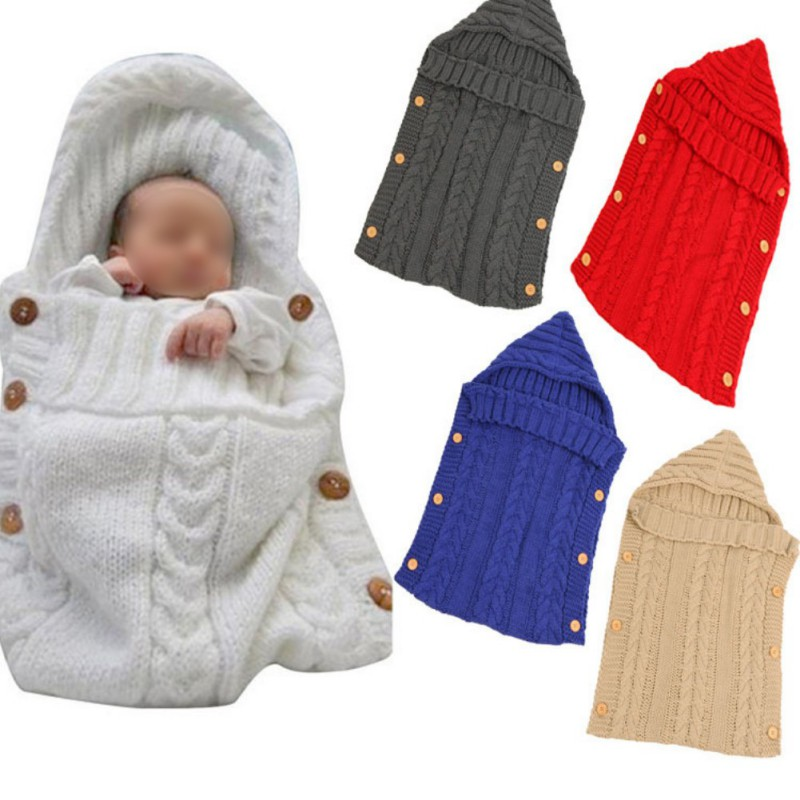 Warm Baby Knitting Wool Sleeping Bag Autumn/winter Button Baby Sleeping Bag Photographic Blanket Cart Sleeping Bag