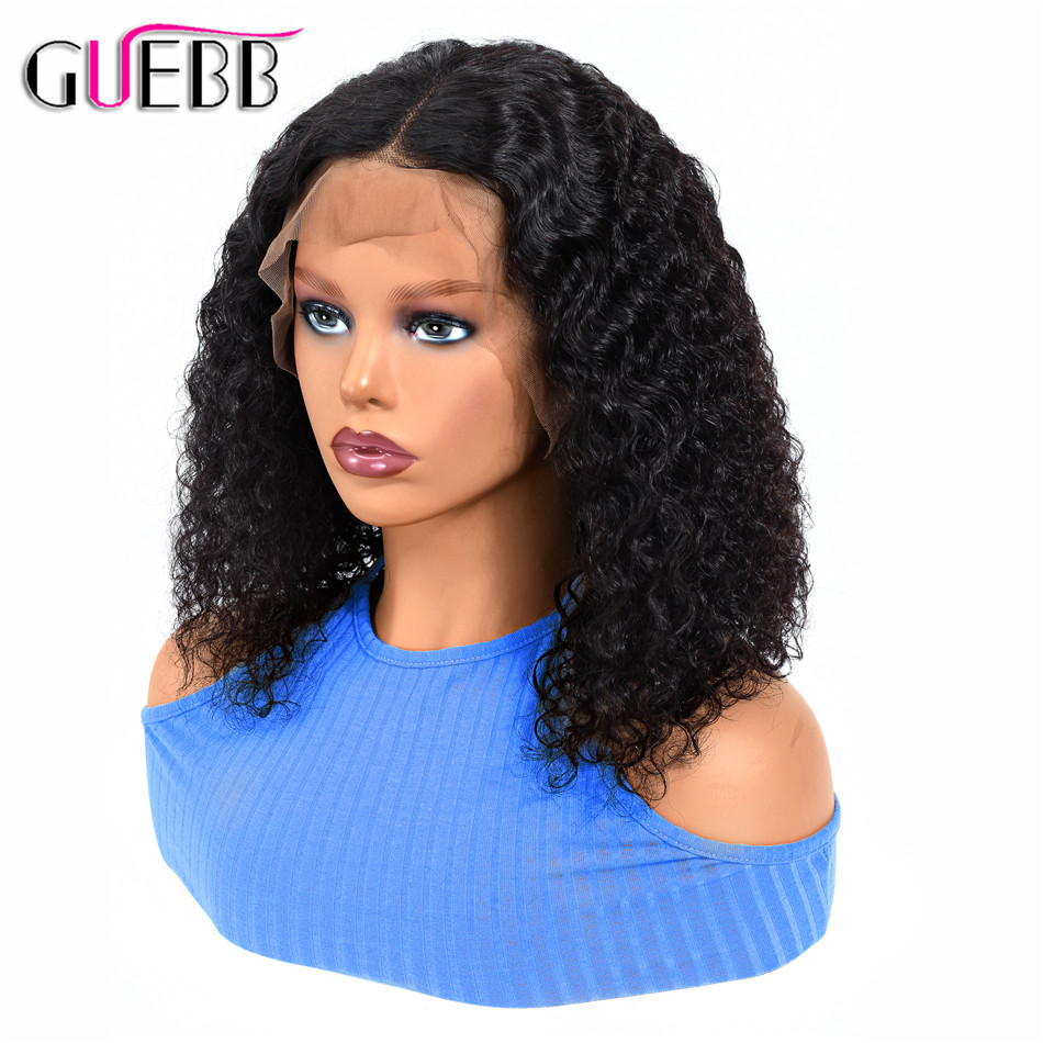 GUEBB Peruvian Curly Human Hair Wig Pre Plucked With Baby Hair 13 4 Remy Hair 6