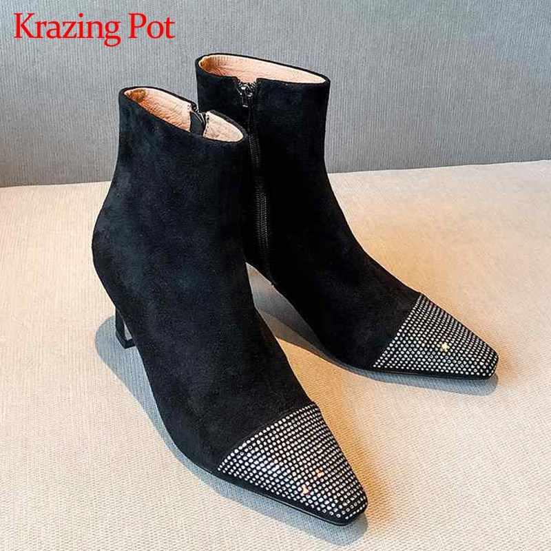 Krazing Pot parlak kristal çivili moda küçük kare ayak yüksek topuklar olgun seksi kadınlar kış moda fermuar yarım çizmeler L34