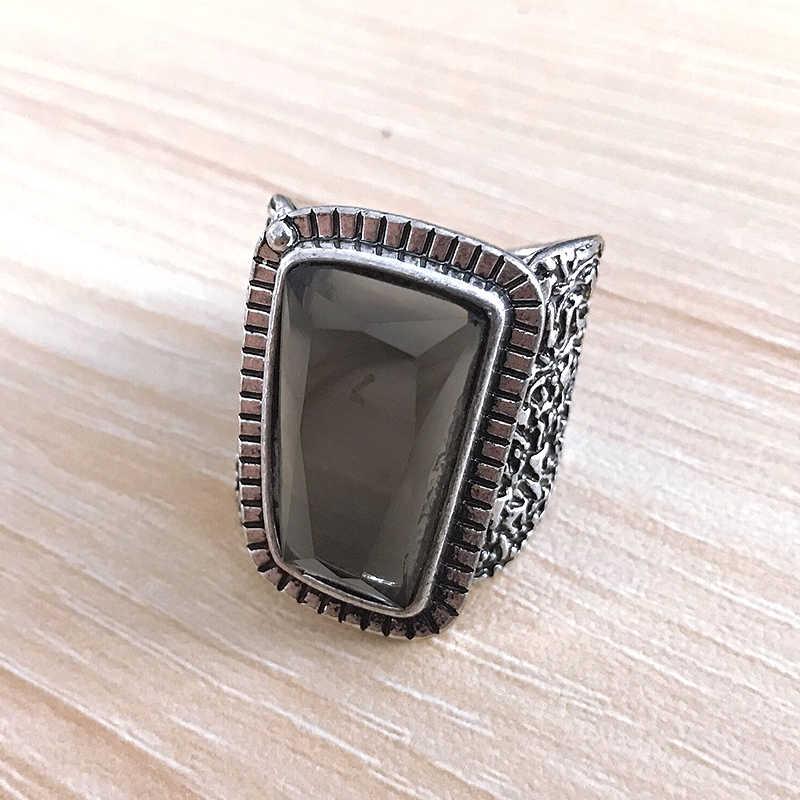 בציר עתיק כסף צבע גדול טבעת שחור CZ ריינסטון אתני גילוף פרח גברים טבעת סט Steampunk Knuckle טבעת תכשיטים
