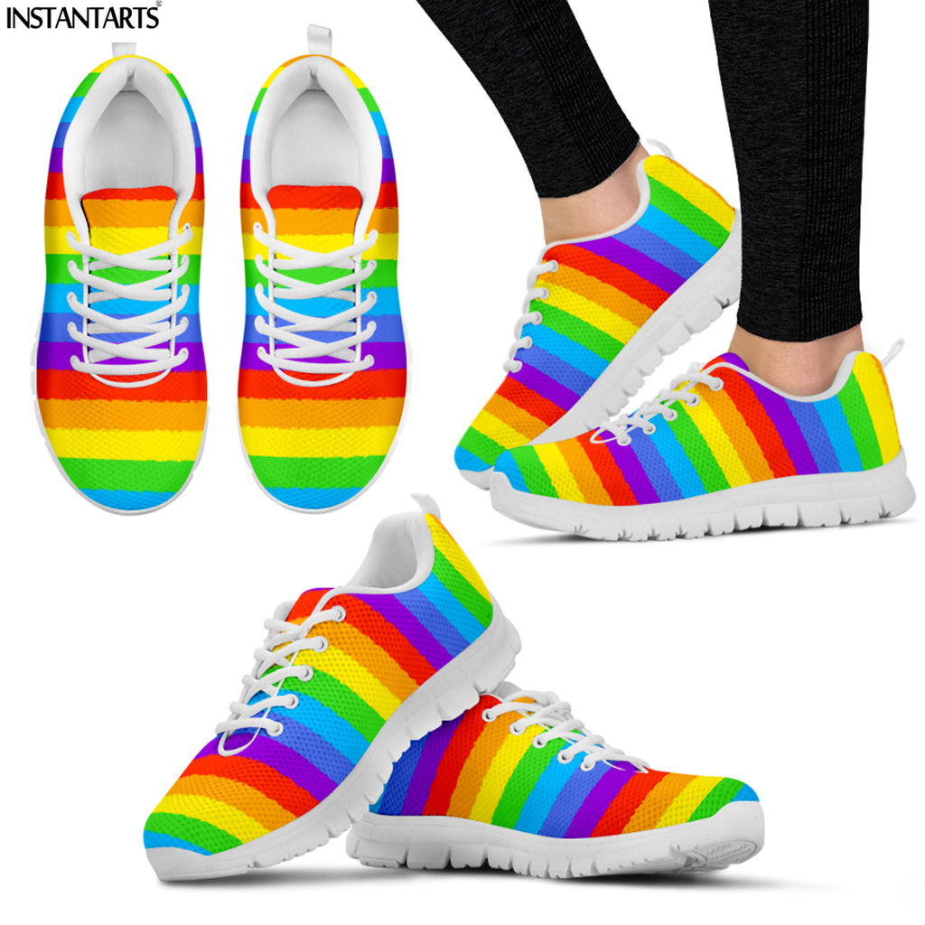 INSTANTARTS Rainbow Color Sneakers for