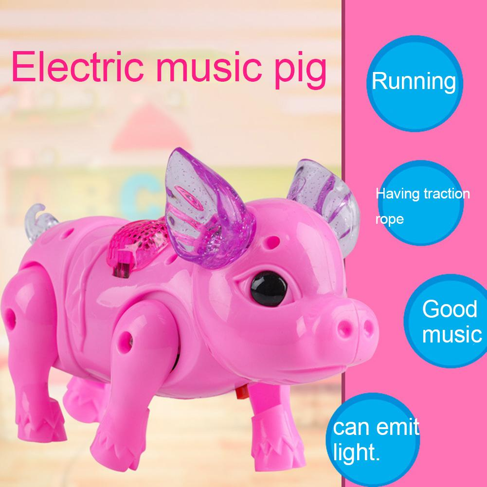 Electric Walking Singing Musical Light Pig Toy With Leash Interactive Kids Toy Electronics Robot Children Birthday Present