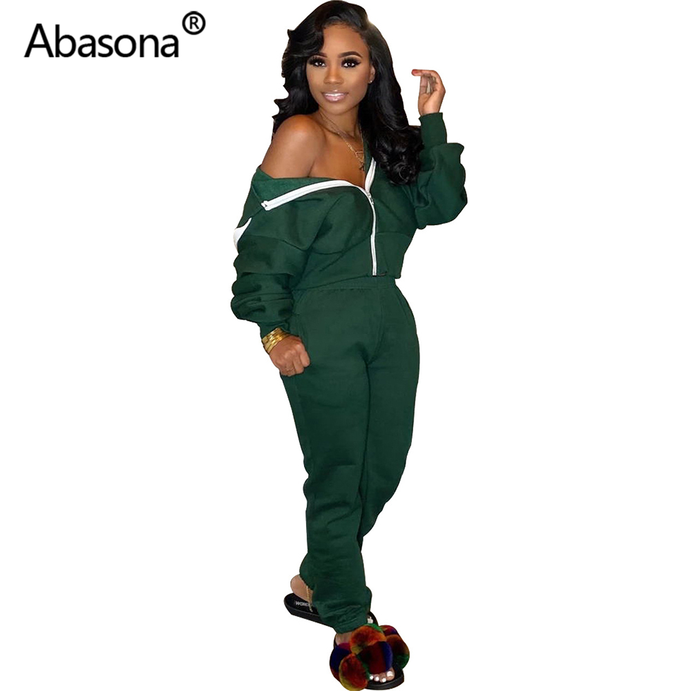 Autumn Women Winter Zip Hoody Sweatshirt And Pockets Ankle-Length Pants Fashion Sporty Tracksuit Casual Streetwear Two Piece Set