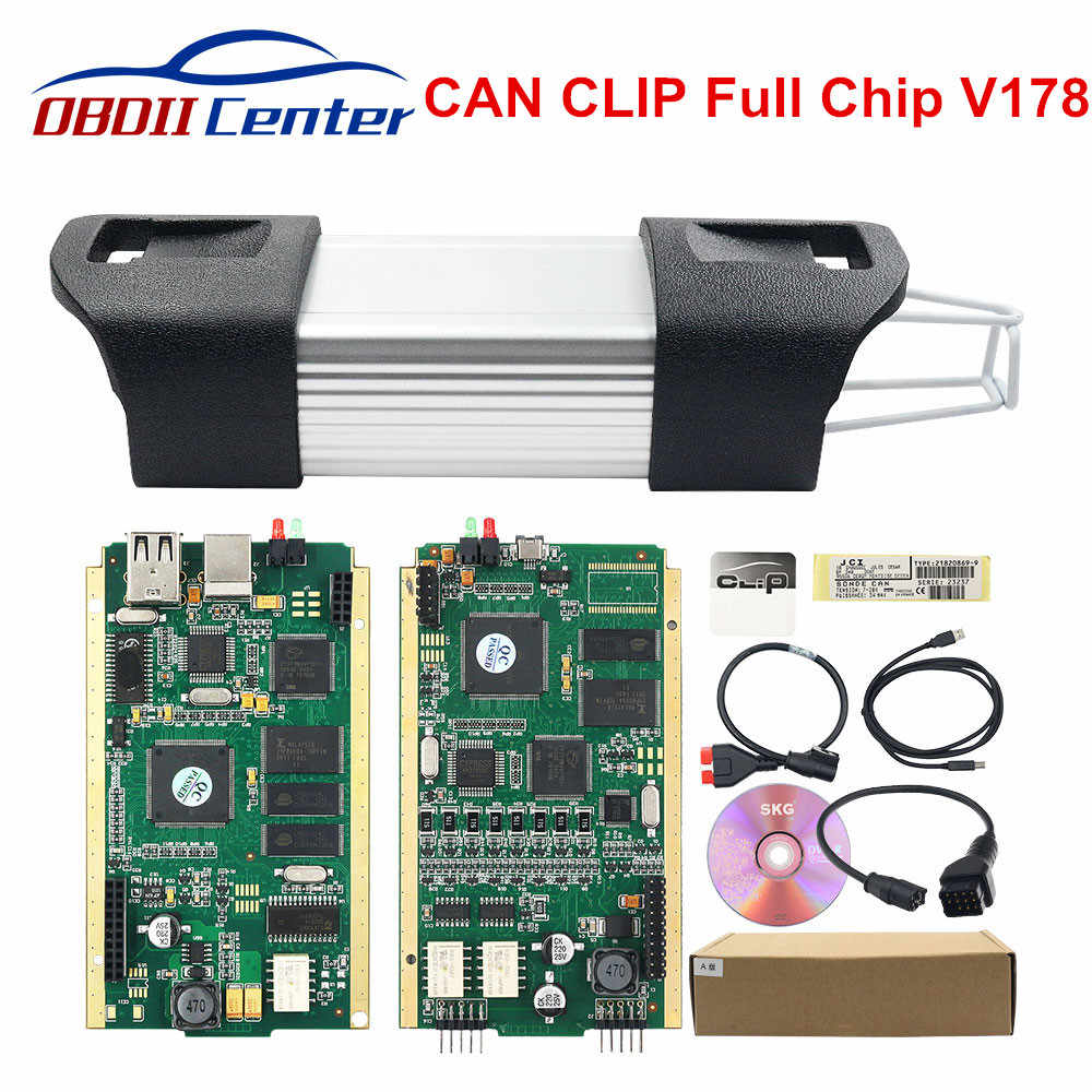 Nieuwe Versie Kan Clip V178 Obd2 Diagnostic Interface Groene Pcb Normale Chip Kan Clip Auto Diagnostische Scanner Voor Auto 'S Tot 2018