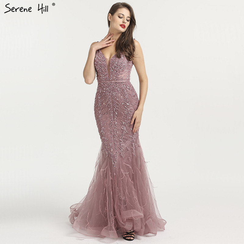 Newest Dubai Sexy Backless Fashion Evening Dresses 2019 Sleeveless Beading Sequined Formal Evening Gowns Serene Hill LA6566
