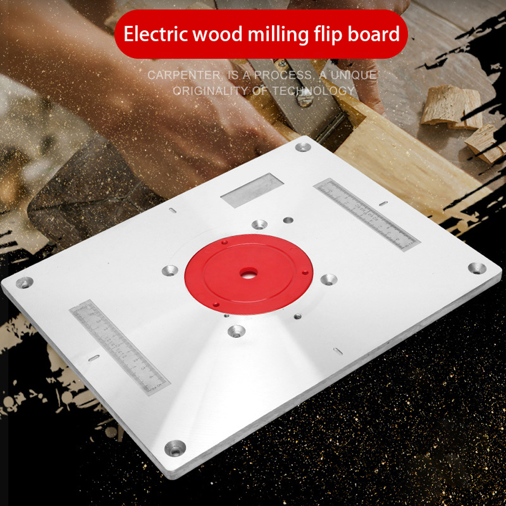 Electric Wood Milling Trimming Machine Flip Plate Guide Table Aluminum Router Table Insert Plate For Woodworking Work Bench Power Tool Accessories     - title=