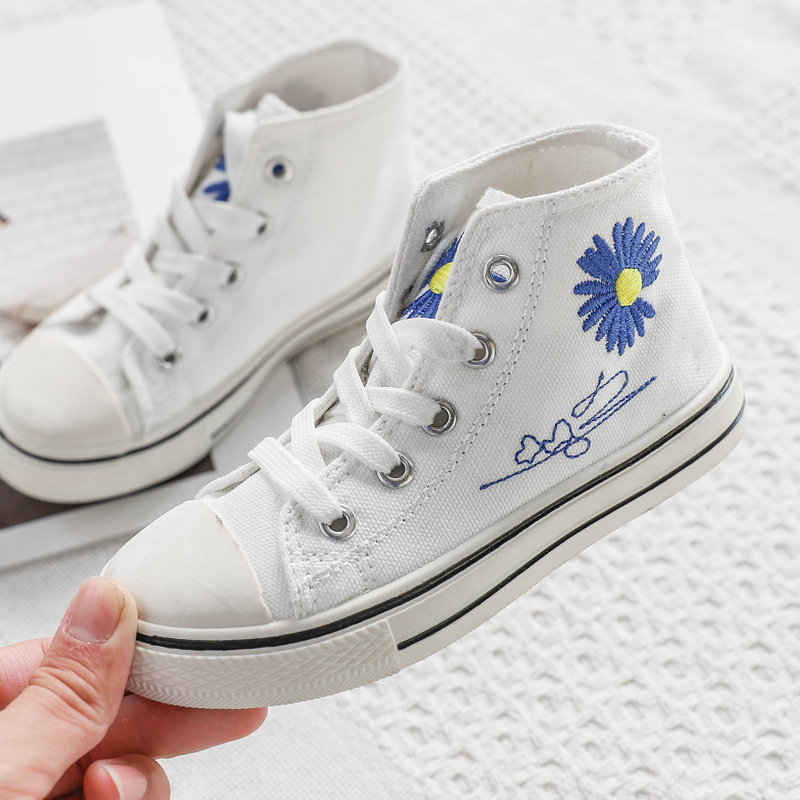 Children Shoes 2020 New Fashion Flower Canvas Shoes Boys Girls Casual Shoes Comfortable Wearable Sole Sneakers Size 23-34