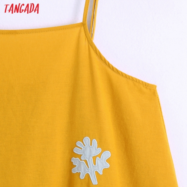Tangada Women's Summer Embroidery Romantic Cotton Dress Strap Adjust Sleeveless 2021 Korean Fashion Lady Elegant Dresses CE313 3