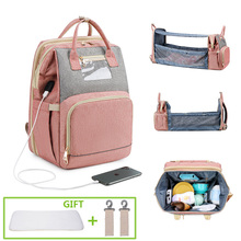 Diaper-Bag Moms Foldable Maternity-Backpack Baby Changing-Station with Crib Bed Luxurious