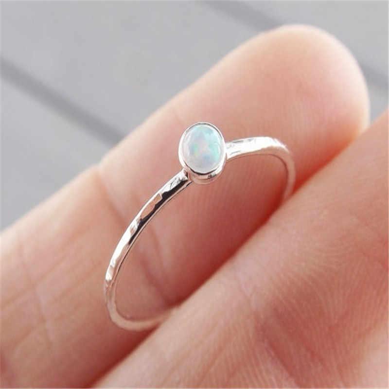 2019 ประณีต Slim แหวน Textured Fire โอปอลคริสตัลซ้อนแหวนผู้หญิงเครื่องประดับประณีตของขวัญหมั้นอุปกรณ์เสริม