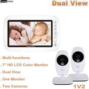 Детская камера, монитор с двойным жк-дисплеем, 720P HD, беспроводная, 7,0 дюймов, ИК, ночное видение, домофон, монитор температуры, няня, камера