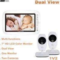 Baby monitor della macchina fotografica di Dual View display LCD 720P HD Da 7.0 Pollici senza fili di IR di visione Notturna Citofono di controllo Della Temperatura macchina fotografica Nanny