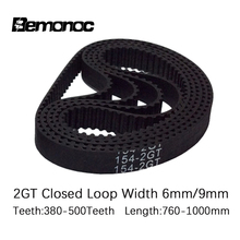 3D printer belt GT2 closed loop rubber 2GT timing 760/784/800/810/840/852/860/900/930/976/1000 length width 6mm 2GT Timing Belts