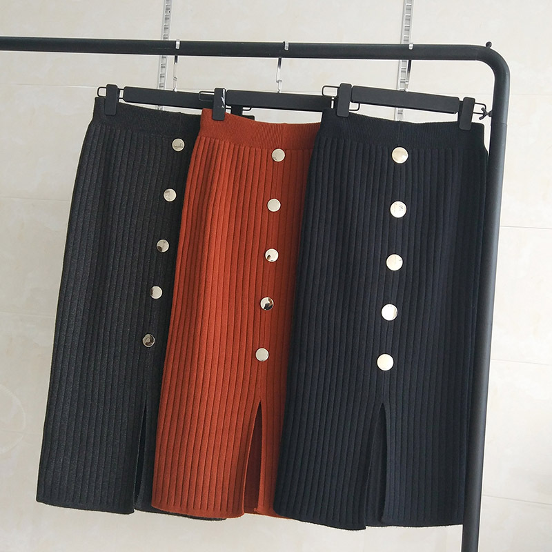 High Waist Buttoned Half-length Knit Hip Skirt