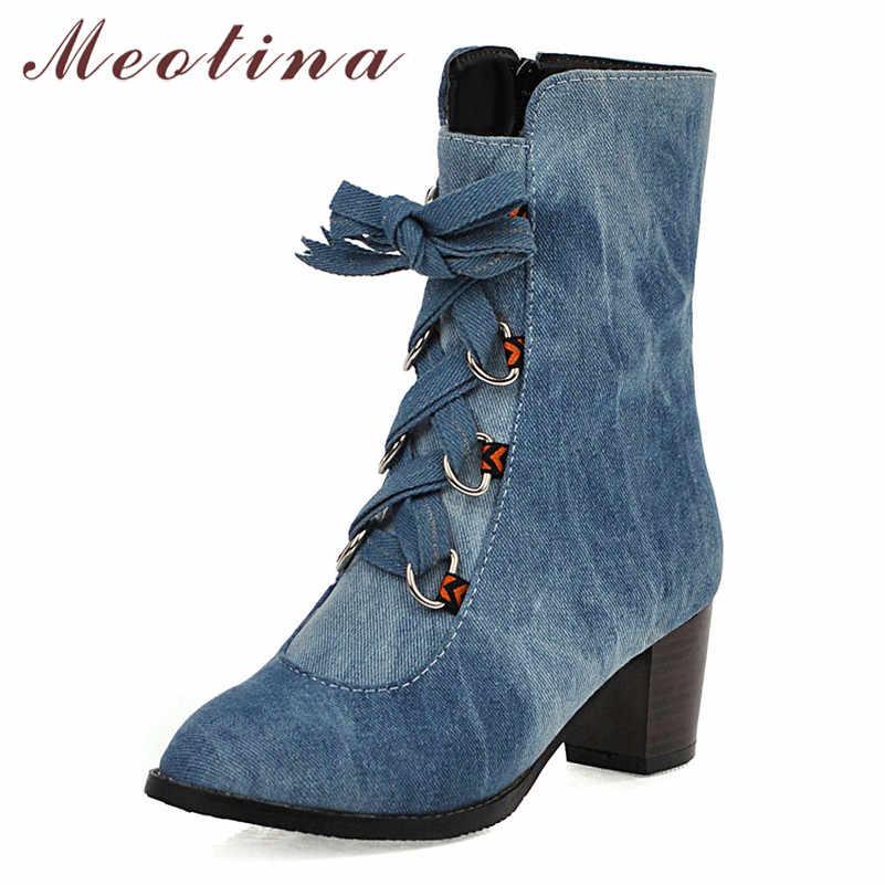Meotina Kadın Botları Kış yarım çizmeler Denim Fermuar Kalın Yüksek Topuk kısa çizmeler Yay Yuvarlak Ayak Ayakkabı Bayan Sonbahar Mavi Büyük Boy 46