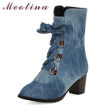 Meotina Women Boots Winter Ankle Denim Zipper Thick High Heel Short Bow Round Toe Shoes Lady Autumn Blue Big Size 46