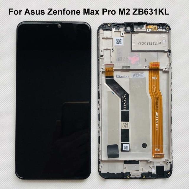 6.26 AAA الأصلي LCD ل Asus Zenfone ماكس برو M2 ZB631KL/ZB630KL شاشة الكريستال السائل محول الأرقام بشاشة تعمل بلمس قطع تجميع + الإطار