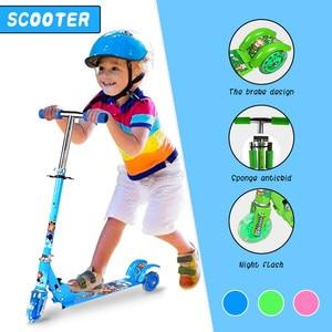 Kids Kick Scooter Kickboard Kick Scooter For Kids 3 Wheel Scooter Led Light Up Wheels Adjustable Height Toddler Scooter d2