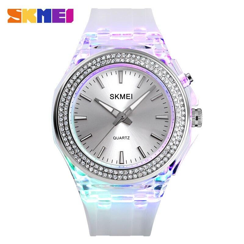 SKMEI Fashion Women Quartz Watch LED Backlight Diamond 5Bar Waterproof Watches Women Transparent Strap Female Wristwatches 1553