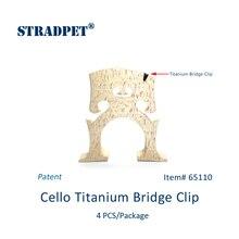 Патент, STRADPET титановый мост зажим для виолончели, 4 шт. в одной посылка, аксессуары для виолончели. Зажим только без моста