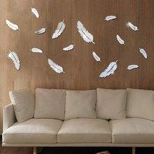 8 шт., зеркальные настенные 3d-наклейки с перьями для украшения дома