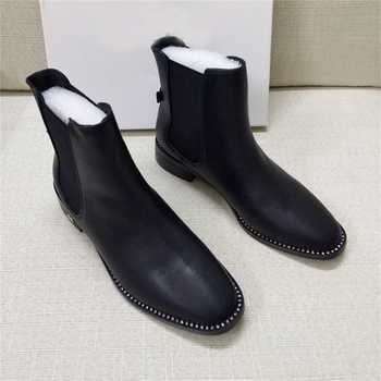 New round toe flat bottom tube boots women fashion comfortable wild Chelsea boots 2019 autumn and winter casual women's booties