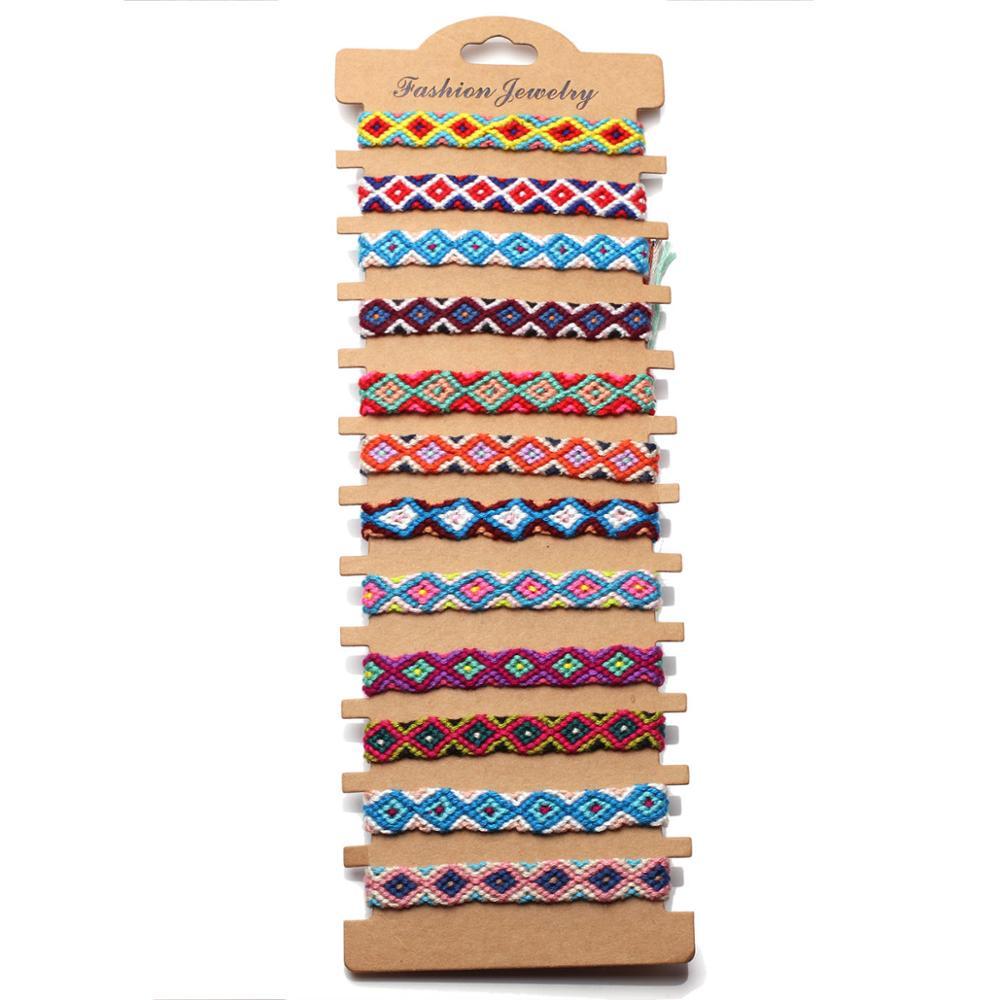 Boho multicolorido bordado corda onda prismático tecido amizade pulseira feminino floss macio macrame atacado surf jóias ela