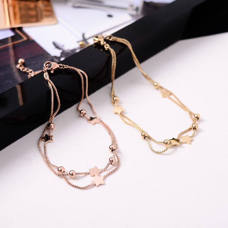 YUN RUO Fashion Double Layer Box Chain Star Anklet Fashion Rose Gold Color Woman Titanium Steel Jewelry Never Fade Drop Shipping