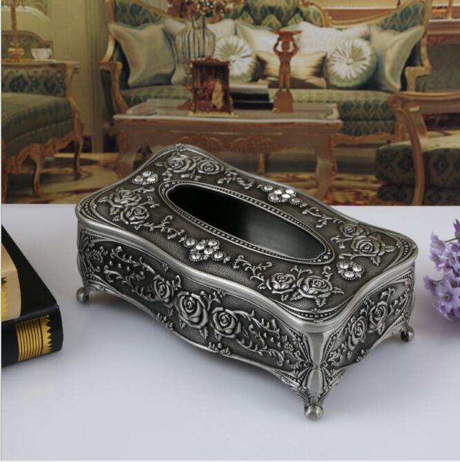 Высококачественная бронзовая металлическая коробка для ткани, ретро держатель для салфеток с цветком, тканевый контейнер для украшения дома ZJH007 - Цвет: tin color