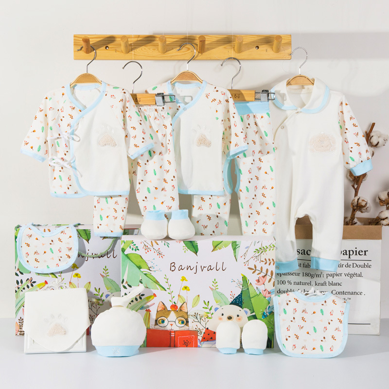 Newborns Gift Box Primary Clothes For Babies Pure Cotton Set Spring And Autumn Summer Newborn Baby Supplies BABY'S FIRST Month G